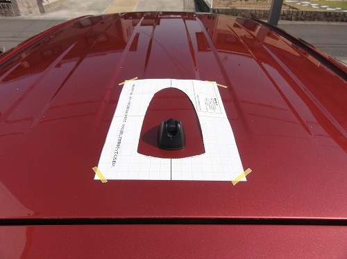 ドルフィンアンテナ 型紙 位置決め シエンタ170 ビートソニック FDA9T-3T8
