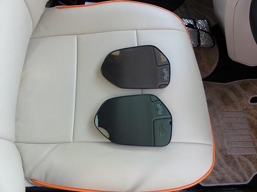 新型シエンタ 170系 ドアミラー交換 標準 レインクリアリングブルーミラー 比較