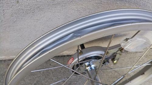 子ども用自転車 リアタイヤ交換 リムテープ